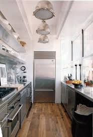 fridge placement urban galley kitchen stainless steel wood