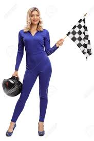 Images Of Racing Flags Full Length Portrait Of A Racing Woman Holding A Checkered Race