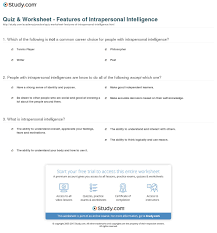 quiz u0026 worksheet features of intrapersonal intelligence study com