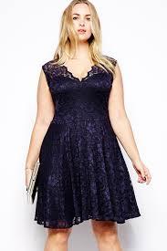 Navy Blue Lace Dress Plus Size Dl Navy Blue Scalloped V Neck Lace Plus Size Skater Dress