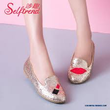 cheap red lips round toe flat bottom sequins shallow mouth flats
