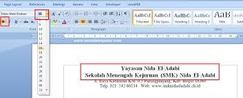 membuat kop surat organisasi cara membuat surat di microsoft word modul komputer