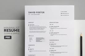 free minimal resume psd template free 7 free editable minimalist resume cv in adobe illustrator and
