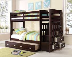 Acme  Allentown Espresso Kids Twin Trundle Bunk Bed With Stairs - Trundle bunk beds