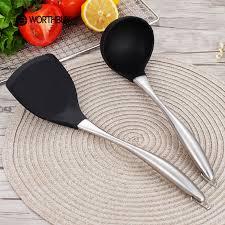 ustensile de cuisine en silicone manche en bois ustensile set 5 pcs ustensiles de cuisine de qualité
