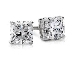 gold diamond stud earrings cushion diamond stud earrings in 14k white gold 1 ct tw blue