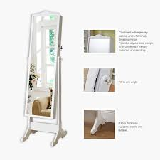 Hives And Honey Jewelry Armoire Free Standing Mirror Jewellery Cabinet Wardrobe White Mf Cabinets