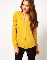yellow blouse lyst asos collection blouse with drop collar in yellow