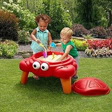 sand and water table kids play outdoor activity childrens