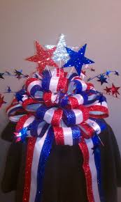 exterior patriotic decorations with a ribbon decorations on hats