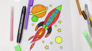 how to draw and color a rocket ship for kids rocket coloring