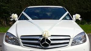 car ribbon ivory wedding car decoration kit large bows 7 metres of ribbon