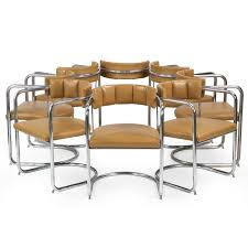 Leather Mid Century Chair Set Of Eight Mid Century Modern Tubular Leather Dining Chairs