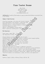 Sample Objective For Teacher Resume Piano Teacher Resume Resume For Your Job Application