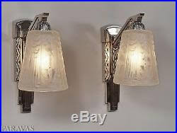 Deco Wall Sconces Muller Freres Pair French Art Deco Wall Sconces Lights 1930 Lamp