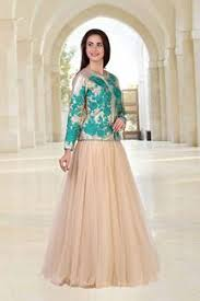 indo western beige gown with jacket