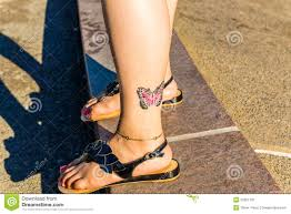 colorful butterfly on ankle stock image illustration of