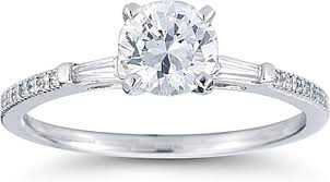 engagement rings with baguettes tapered baguette pave engagement ring us3074