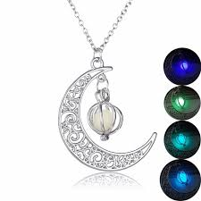 stone charm necklace images Josbores fashion shine moon charm luminous stone necklaces for jpg