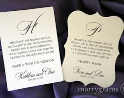 wedding gift donation to charity wedding donation favor cards in lieu of favors reception