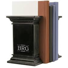 monogram bookends black marble column bookends