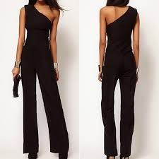 s one jumpsuit s one shoulder jumpsuit black bell bottoms
