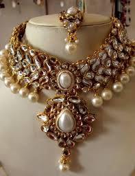 necklace wedding sets images Buy white kundan pearl drop choker necklace earring tika wedding jpg