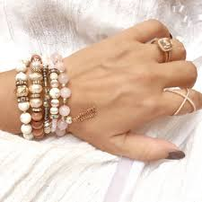 rose quartz beads bracelet images Boho jewelry boho bracelet titanium from leaspirit on etsy jpg