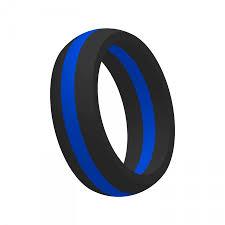 thin blue line wedding band men s thin blue line silicone wedding band ring