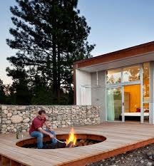 sunken fire pit in deck deck design and ideas