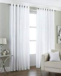 White Faux Silk Curtains White Faux Silk Curtains 90 X 90 Drop 229 X 229 Cm Ring Top