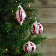 set of 3 red u0026 white glitter candy cane glass christmas tree