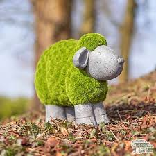 flocked sheep garden ornament