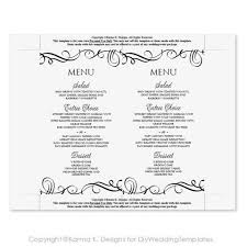 Wedding Menu Template Swirls Wedding Menu Template Editable Text Black 4 X 7