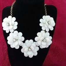 long flower necklace images J crew jewelry jcrew white flower necklace with crystal accents jpg