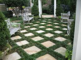 Backyard Pavers Backyard Pavers With Dwarf Mondo Grasses Ground Cover Plants