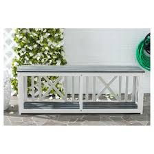 Garden Bench With Storage Amalfi Wood 3 Seater Patio Bench With Storage Safavieh Target