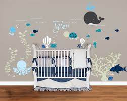 Nautical Baby Nursery Splendid Decorating Ideas Using Grey Wall And Rectangular Brown