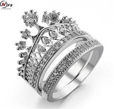 aliexpress buy anniversary 18k white gold filled 4 nfs brand 2pcs crown zircon ring for woman white gold filled