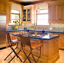 Mexican Style Kitchen Design by Blue Kitchen Tile With Design Kitchen Transitional And