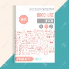 wellness spa brochure template with hand drawn lettering and