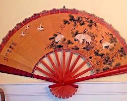 oriental fan wall hanging vintage asian wall fans birds trees large chinese japanese art