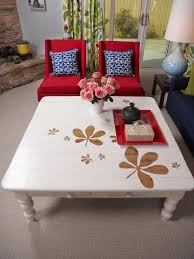 furniture stenciled old orange oak table stenciled old black