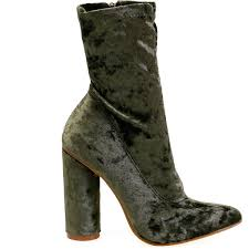 paw womens boots sale paw 26 olive pointed toe velvet chunky heel ankle booties 28