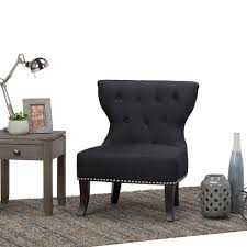 home furniture kitchener simpli home kitchener charcoal linen blend tufted accent chair