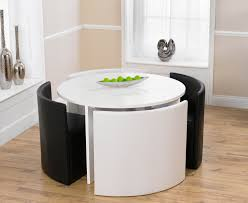 Round Table And Chairs Oslo White High Gloss Round Stowaway - White and black dining table