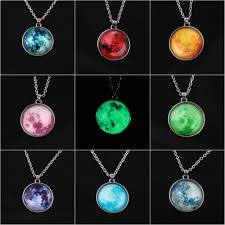 moon necklace images Women full moon rising moon pendant necklace glow in the dark jpg