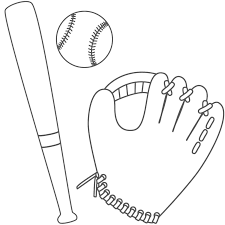 baseball glove ball and bat coloring page father u0027s day