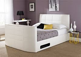 Kingsize Tv Bed Frame York Leather White Tv Bed King Size Beds Bed Sizes