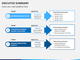 executive summary template powerpoint 6 stages using arrows